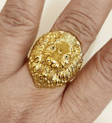 Fine Jewelry 18 Kt Real Solid Yellow Gold Lion Head Men's Ring Size 8,9,10,11,12