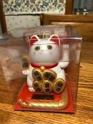 Solar Powered White Lucky Money Waving Cat Dancing Toy Usa Seller