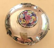 Vintage 205 Gr. Sterling Silver Porcelain Collectible Jewelry Box Very Elegant