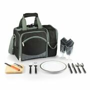 Spacious Insulated Picnic Cooler Bag W/ Beverage Holder And Two Set Of Tableware