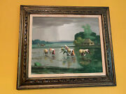 Vintage Southeast Asian Workers Picking Rice Paddy Field China Vietnam Painting