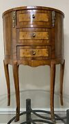 Louis Xv Style French Marquetry Half Oval Moon Nightstand Night End Table
