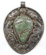 Huge Antique Chinese Silver Turquoise Dragons Foo Lion Reversible 4andrdquo Pendant