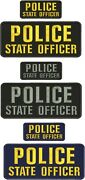 Police State Officer Embroidery Patches 4x10 And 2x5 Hook On Back 3 Set