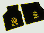 Floor Mats For Matra Murena Velours Black And Logo In Yellow 2-pieces