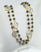 18kt Yellow Gold Rough And Sliced Diamond Necklace - 42.2cttw - 28 - Boho Gypsy