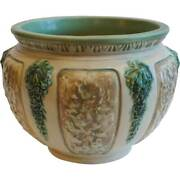 Vintage American Roseville Florentine Ii Pattern Ivory And Green Pottery Planter