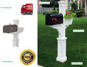 Mayne Westbrook White Polymer Support Mailbox Post With Flower Planter Arm, New