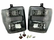Black Housing Clear Side Headlights Lamps And Bulbs For 08-10 Ford Super Duty Pair