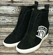 Dkny Cassie Suede Wedge Sneakers Black Womenand039s Choose Size New Ships Free