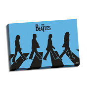 Beatles Collectible Steiner Blue Silhouette Abbey Road Stretch Canvas 24x36 Oop