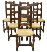 French Country Farmhouse Oak Dining Side Chairs W/rush Seats   Set Of 6