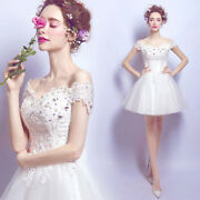 Women's Off Shoulder Sexy Lace Mini Wedding Bride Dresses Formal Prom Party Gown