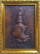 Thailand Handmade Craft Copper Plate Carving Collectible And Giftsfree Shipping.