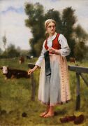Th. Lepage Oil Painting Oil Portrait Young Lady Paysanne Field Cow Jules Breton
