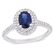 Amour 14k White Gold Oval Blue Sapphire And Diamond Double Halo Engagement Ring