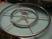 Helm Wheel Sailboat 6 Spoke Double Ring 24and039and039 Stainless Nice