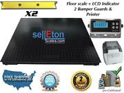 60 X 60 Floor Scale With 2 Bumper Guards / Printer 5000 Lbs X 1 Lb