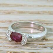 Modern 0.77ct Oval Cut Ruby And Diamond Solitaire Ring - 18k White Gold