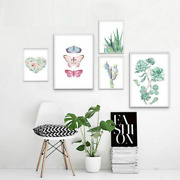 Canvas Posters Painting For Home Living Room Decorative Picture Plant Butterfly