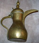 World War 1 Wwi Era Antique Brass Coffee Pot Signed And Dated 1920