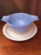 Usa Homer Laughlin Skytone Blue Gravy Boat White Attached Underplate 2 Cups
