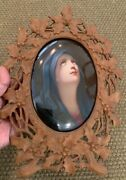 19th C. Kpm Hand Painted Porcelain Plaque Of Madona In Black Forest Brienz Han
