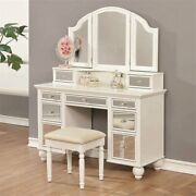 Coaster 3 Piece Vanity Set In White And Tan