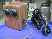 Western Electric Antique Telephone Metal Non Dial Space Saver Oak Ringer Box
