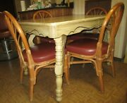 Antique Refinished Wood Dining Table, Buffet 6 Shelby Williams Cane Chairs