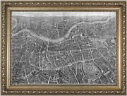 Vintage And Antique Framed Map / Chart / Engraving   Balloon Map Of London C.1851