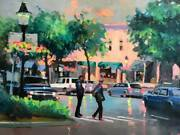 Original Oil Painting Of The Main Street Our Beautiful Ridgefield Ct Large