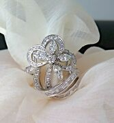 18ct White Gold And 1.50ct Diamond Flower Ring - Size L Weight 9.28gm