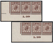 Sg436wi 1929 Puc 1 1/2d. Inverted Wmk L29 Control Strip Of 3 From Plate 1 ...