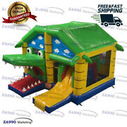 16x13ft Inflatable Crocodile Bounce House And Slide Castle With Air Blower