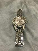 Dior Gray Sapphire Crystals Diamonds Christal Watch 33mm Silver Cristal Lovely