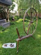 Antique Spinning Wheel From Late 1800and039s With Accessories. In Good Condition.