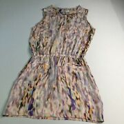 A.l.c. Pastel Watercolor Silk Sleeveless Dress Button Front Pockets Size Small