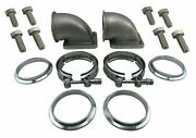 3 Inch Vband Cast Elbow Adapter Kit Flanges V-band Clamps W/ Bolts T4 T3 Flange