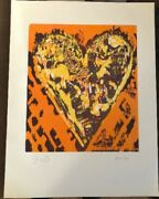 Vintage Jim Dine Heart For Film Forum Signed Number Woodcut 1993 Edition Of 500