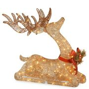 Christmas Decorations Xmas Gold Deer Pre Lit Outdoor Yard Holiday Decor Lights