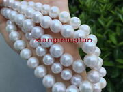 Long Aaa Round 3513-15mm Real Natural South Sea White Pearl Necklace 14k Gold