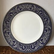 Royal Doulton Byron H5268 Blue And Platinum Silver Scroll Leaves Salad Plate 8