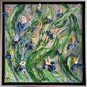 3d Textured Impasto Modern Irises Painting, Wall Sculpture On Canvas 14 X 14 In
