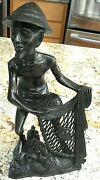 Antique 1900and039s Indonesia Bali Carved Rosewood Fisherman Figure Signed By Merta