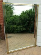 Large Vintage Mid Century Modern Wall Mirror 60 X 45 Brass Accents Metal Frame