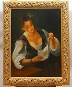 Painting Of Jewish Girl Reading A Letter, Beginning Of 19th Century Dutch School
