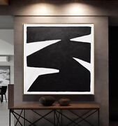 48 X 48 Black And White Painting Large Minimal Abstract Art - L. Beiboer