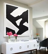 48 X 48 Black And White Minimalism Painting Large Abstract Art - L. Beiboer