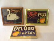 Vintage Crate Fruit Labels, Lot Of 3, Swan, Del Oro And Weeks